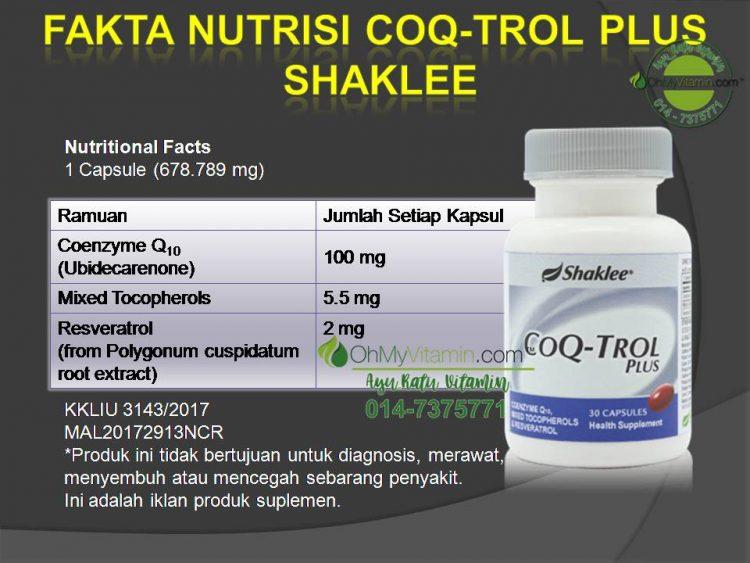 FAKTA NUTRISI COQ-TROL PLUS SHAKLEE