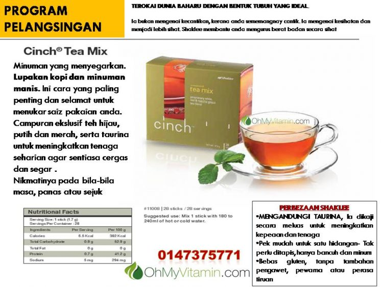 CINCH ® TEA MIX shaklee terbaik