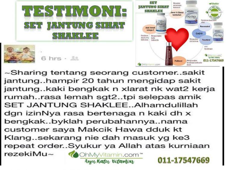 2. TESTIMONI set suplemen untuk jantung sihat shaklee