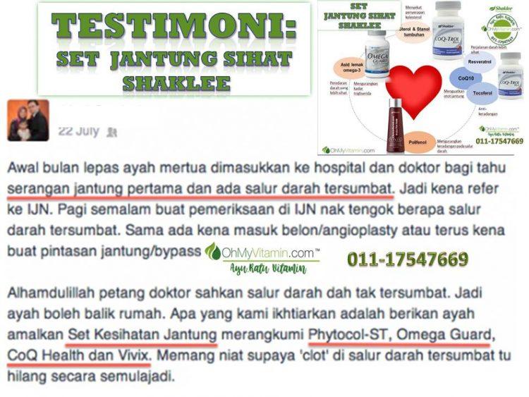 TESTIMONI set suplemen untuk jantung sihat shaklee