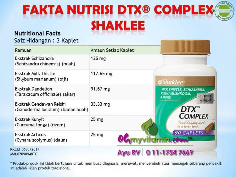 FAKTA NUTRISI DTX Complex SHAKLEE
