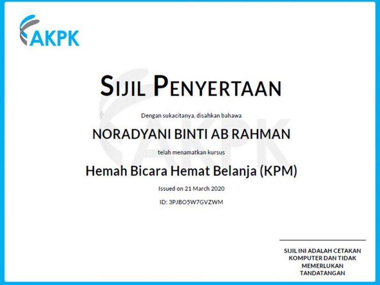 sijil kursus hemah bicara hemat belanja AKPK